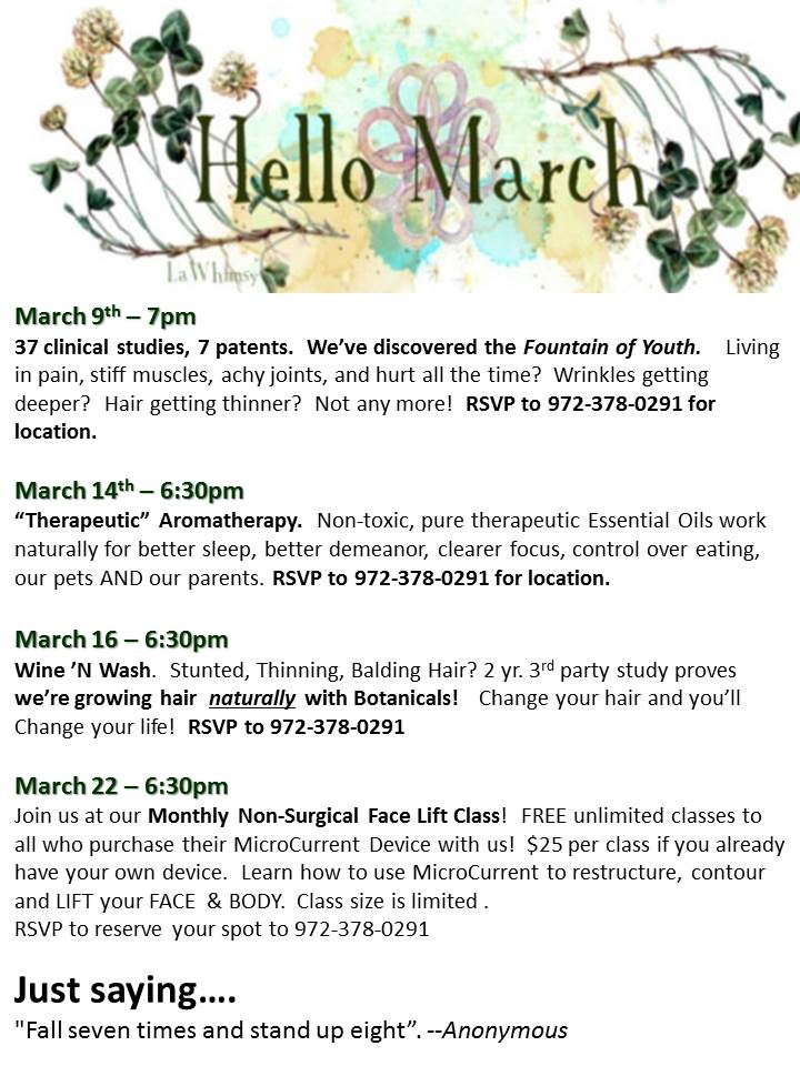 March Events LED Skin Care Spa